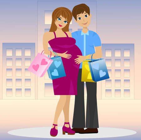 expectant: young married couple in expectant of child with purchase Illustration