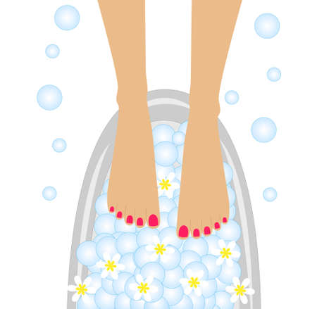 pamper: care of feet, birdbaths with the flowers of camomile