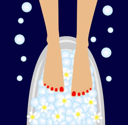 care of feet, birdbaths with the flowers of camomile