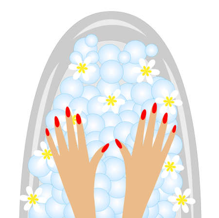 care of hands, birdbaths with the flowers of camomile
