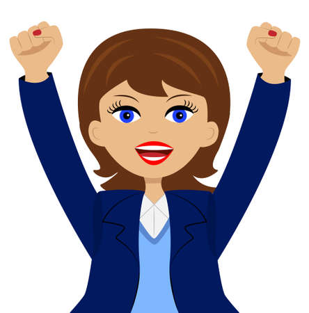 upwards: a young business woman is glad, heaving up hands upwards Illustration