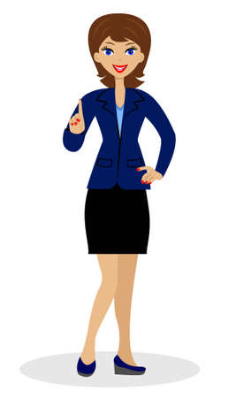 upwards: a young business woman heaved up an index finger upwards
