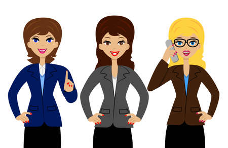 three persons: three successful business woman on white background