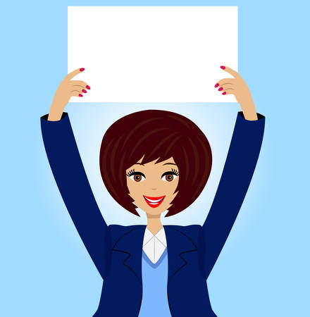 successful business woman with a clean table in hands Vector