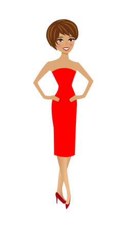 beautiful  slender woman in red dress on white background Vector