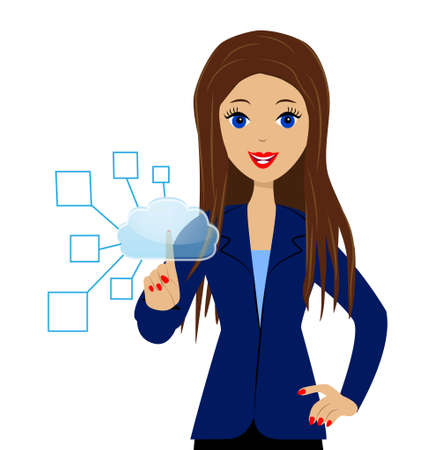 a business woman presses an index finger the virtual button Vector