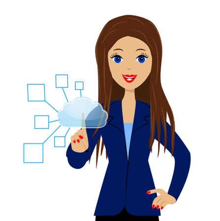 een bedrijf vrouw drukt een wijsvinger de virtuele knop Stock Illustratie
