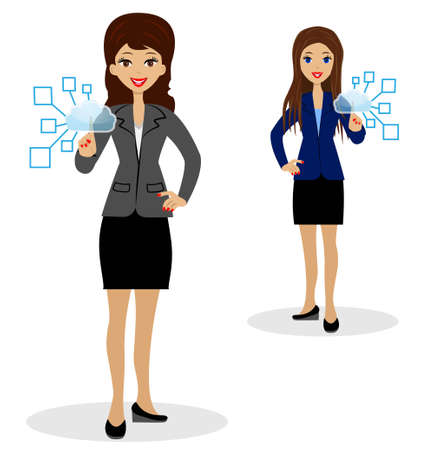 two business women press index fingers the virtual buttons Vector
