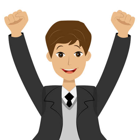heave: successful businessman heaving up hands upwards, is glad to victory, vector illustration Illustration