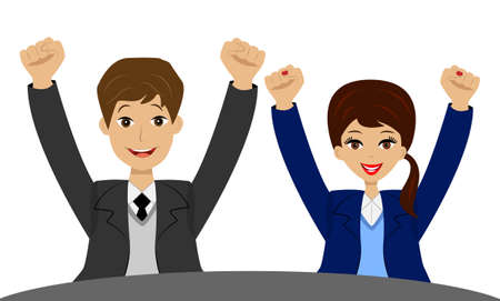 upwards: successful businessmen heaved up hands upwards and are glad to victory, vector illustration Illustration