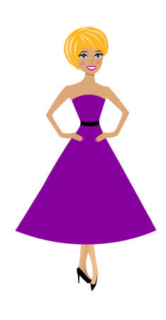 beautiful  slender woman in lilac dress on white background Vector