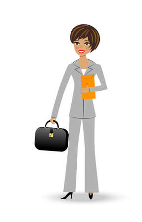 beautiful  slender woman in business suit on white background, vector illustration Vector
