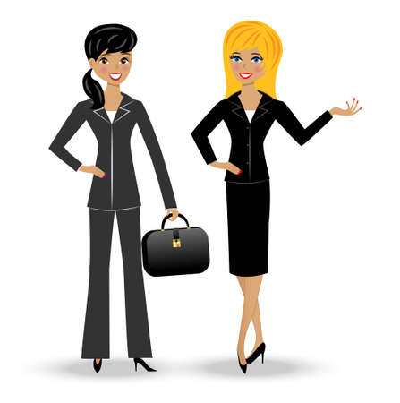 two slender business woman on white background, vector illustration Vector