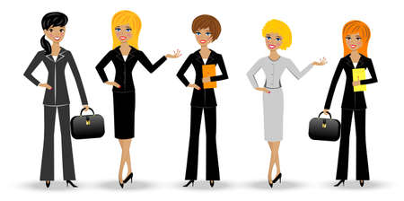 set  slender business woman on white background, vector illustration Vector