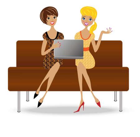 ノートブック、ベクトル イラストとソファの上に 2 つの細長いビジネス女性座る  イラスト・ベクター素材
