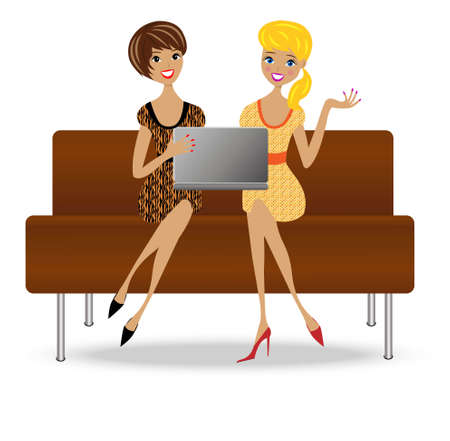 two slender business woman sit on sofa with notebook,vector illustration