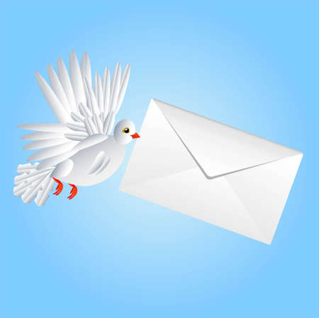 addressee: bird a white pigeon carries a white envelope in a beak,  vector  illustration