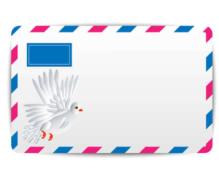addressee: envelope Air with the drawn white pigeon, vector illustration Illustration