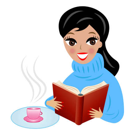 young woman with book and cup of tea, vector illustration
