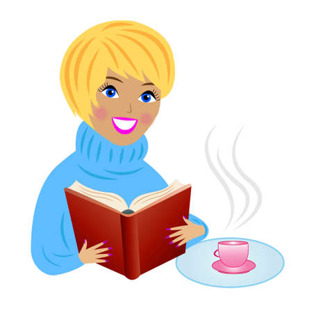 young woman with book and cup of tea, vector illustration Vector