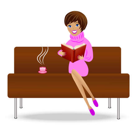young woman with book and cup of tea sit on sofa, vector illustration