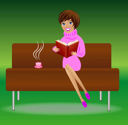 young woman with book and cup of tea sit on sofa, vector illustration Vector