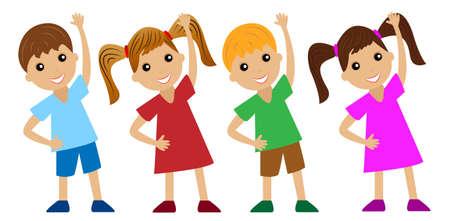 children go in for sports, do physical exercise,vector illustration Illustration