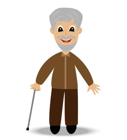 continuation: merry old man with a walking stick on a white background,, vector illustration