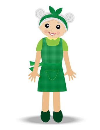 alte frau: fr�hliche alte Frau auf einem wei�en Hintergrund, Vektor-Illustration Illustration