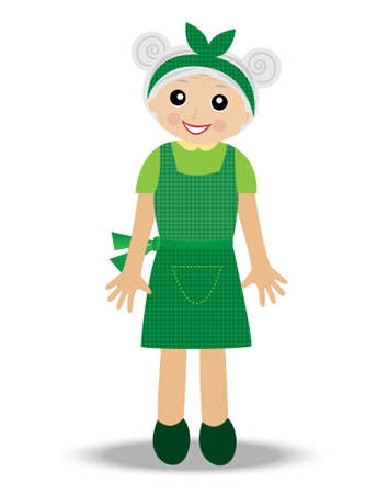 continuation: merry old woman on a white background, vector illustration