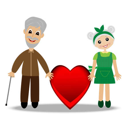 continuation: merry grandparents to hold on to the red heart on a white background, vector illustration Illustration