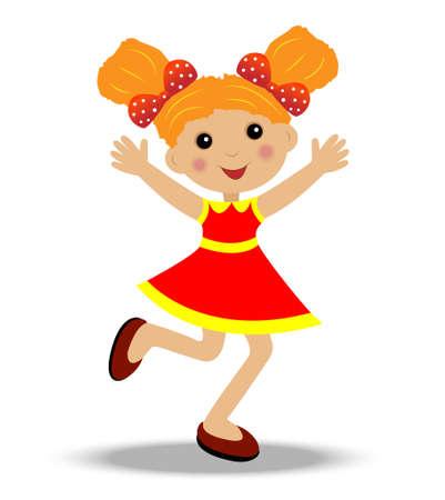 merry little girl on white background, vector illustration Illustration