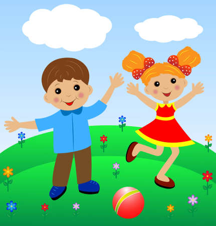 merry  girl and boy in summer on lawn, vector illustration Vector