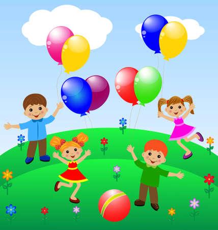 little child with balloon, vector illustration Illustration