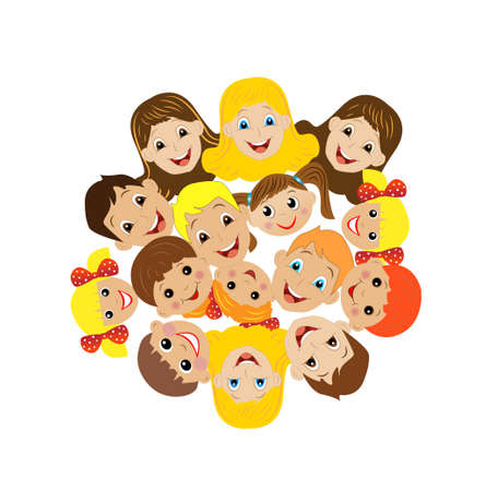 sufficiently: many children got up in a circle on a white background, vector illustration