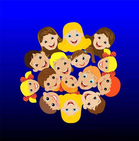 many children got up in a circle , vector illustration Illustration