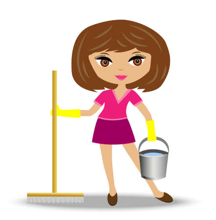 young woman  with mop and bucket in hand, vector illustration Vector