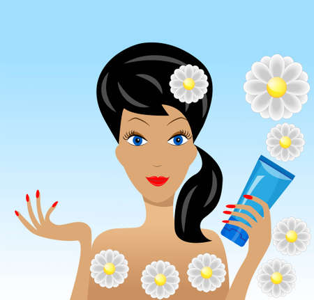 young woman with the tube of cream in a hand, vector illustration Vector