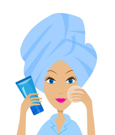 young woman with a towel on a head and tube of cream,vector illustration Vector