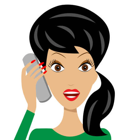 business  woman emotionally speak by phone, vector illustration Vector