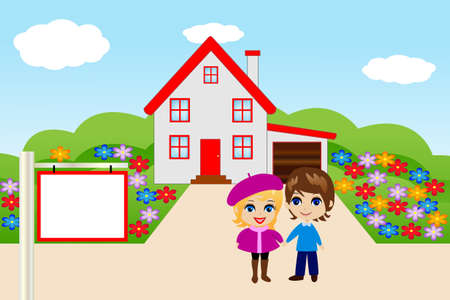 amusing merry pair on a background a new house,vector illustration Vector