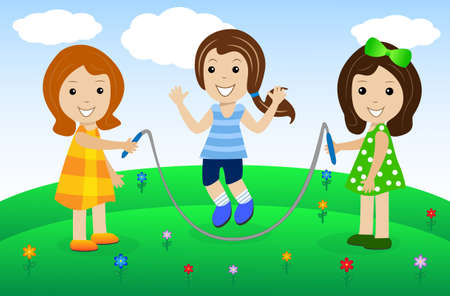 merry girls play the nature, vector illustration Vector