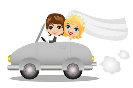 hermosa novia con novia ir en un viaje de bodas en un coche, ilustración vectorial