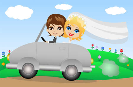 beautiful groom with fiancee go in a wedding trip on a car, vector illustration Vector
