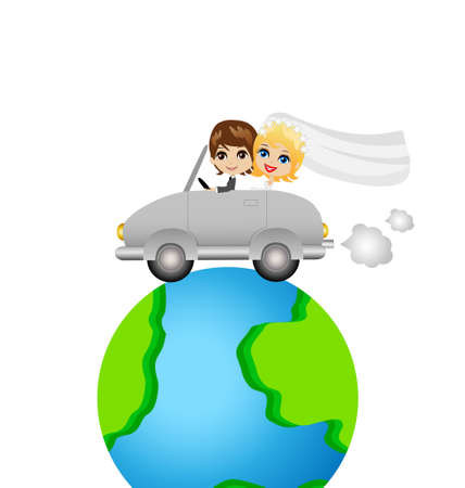 fiancee: groom with fiancee go in a trip on a car round earth, vector illustration Illustration