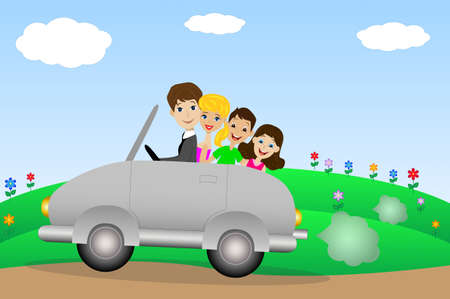 family goes in a trip on a car,vector illustration