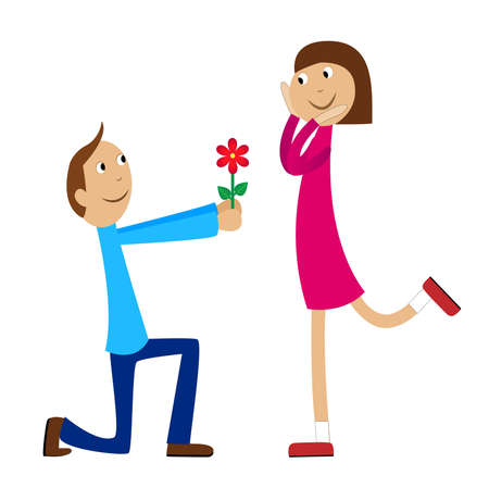 boy gives a flower to the girl,vector illustration Illustration