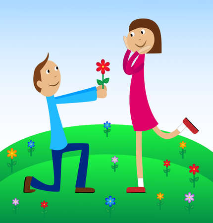 gladness: boy gives a flower to the girl,vector illustration Illustration
