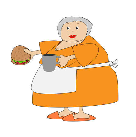 open sandwich: complete elderly woman with open sandwich and mug in hands,vector illustration Illustration