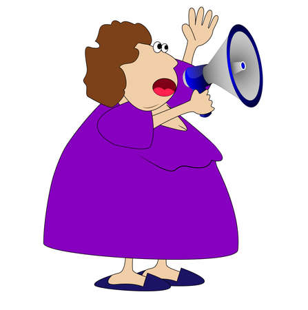 specifies: complete woman, loud in a megaphone,vector illustration